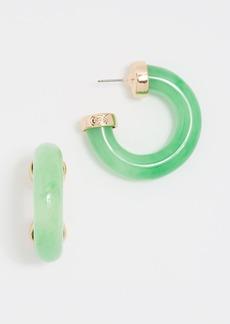 Kenneth Jay Lane Polished Gold Ends Hoop Earrings