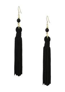 Kenneth Jay Lane Polished Gold/Black Bead and Tassel Fishhook Earrings