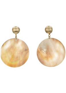 Kenneth Jay Lane Round Wavy Shell Disc Pierced Earrings