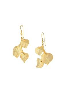 Kenneth Jay Lane Satin Gold 3 Leaf Fish Hook Earrings