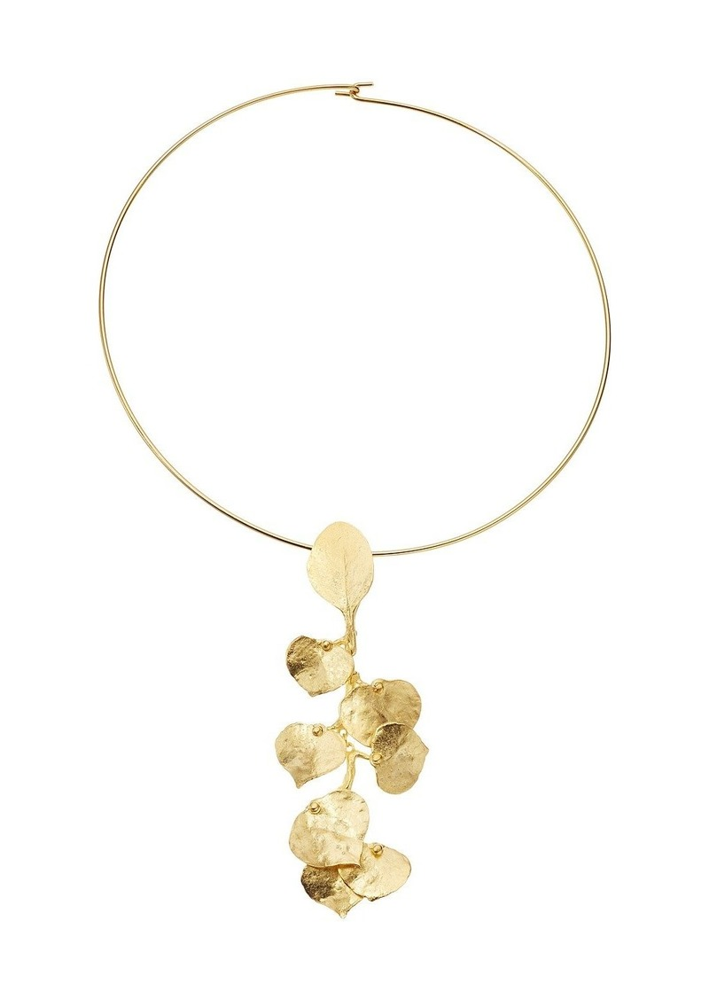 Kenneth Jay Lane Satin Gold Flower Front Wire Necklace | Jewelry ...