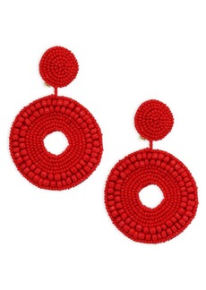 Kenneth Jay Lane Seed Bead Circle Clip-On Earrings