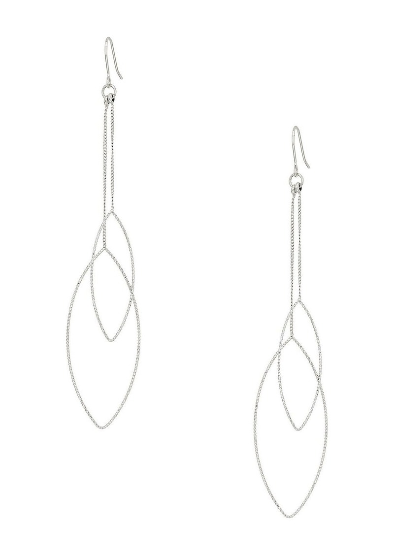 Kenneth Jay Lane Silver Chain And Double Teardrop Fishhook Earrings