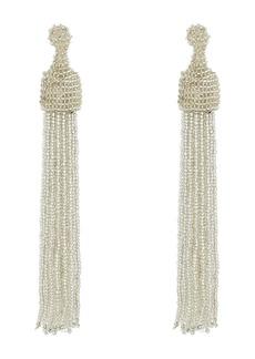 Kenneth Jay Lane Silver Seed Bead Tassel Direct Post Earrings