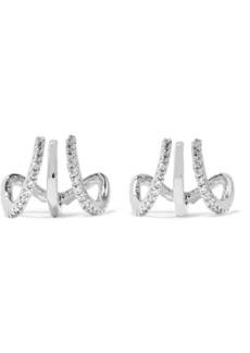 Kenneth Jay Lane Silver-tone cubic zirconia triple hoop earrings