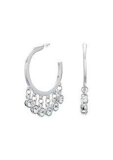 Kenneth Jay Lane Silver/Crystal Drops Pierced Hoop Earrings