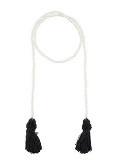 Kenneth Jay Lane Simulated Pearl Rope Necklace w/ Tassel Ends