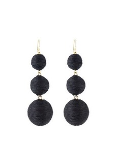 Kenneth Jay Lane Threaded Triple-Drop Ball Earrings
