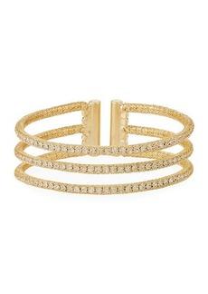 Kenneth Jay Lane Three-Row Crystal Wire Cuff Bracelet