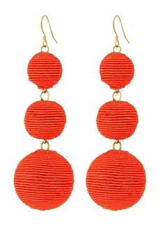 Kenneth Jay Lane Triple Graduated Coral Thread Wrapped Balls Fishhook Top Ear Earrings