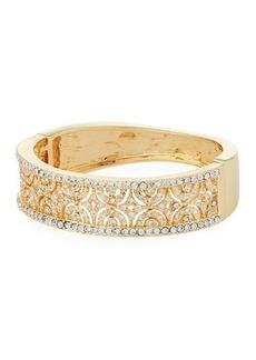 Kenneth Jay Lane Wide Hinged Crystal Cuff Bracelet