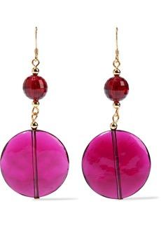 Kenneth Jay Lane Woman 22-karat Gold-plated Bead And Resin Earrings Purple
