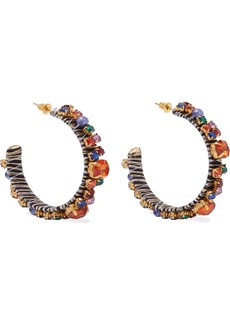 Kenneth Jay Lane Woman 22-karat Gold-plated Crystal Bead And Cord Hoop Earrings Multicolor