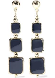 Kenneth Jay Lane Woman 22-karat Gold-plated Enamel Earrings Navy