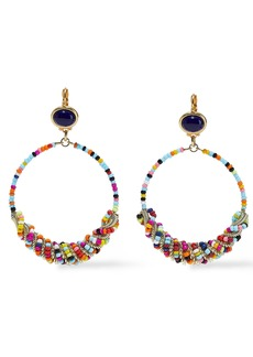 Kenneth Jay Lane Woman 22-karat Gold-plated Lapis Lazuli And Bead Hoop Earrings Multicolor