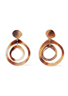 Kenneth Jay Lane Woman 22-karat Gold-plated Printed Resin Earrings Brown