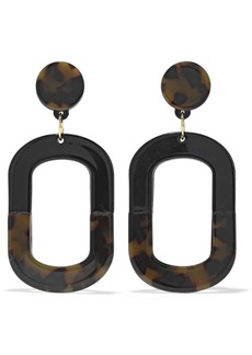 Kenneth Jay Lane Woman 22-karat Gold-plated Tortoiseshell Enamel Earrings Black