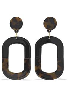 Kenneth Jay Lane Woman 22-karat Gold-plated Tortoiseshell Enamel Earrings Black