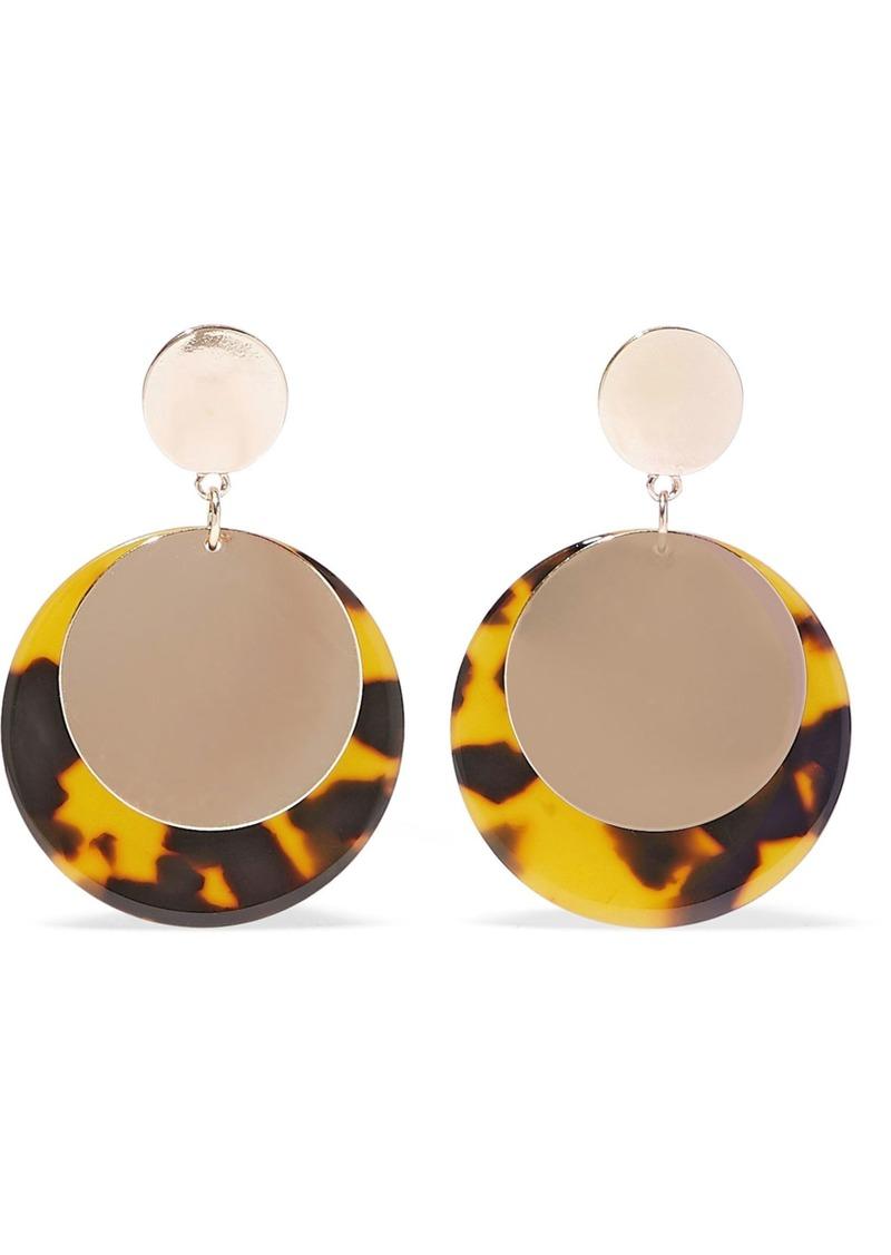 Kenneth Jay Lane Woman 22-karat Gold-plated Tortoiseshell Resin Earrings Gold