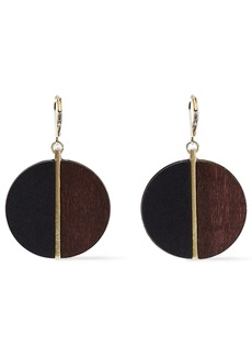 Kenneth Jay Lane Woman 22-karat Gold-plated Wood Earrings Brown