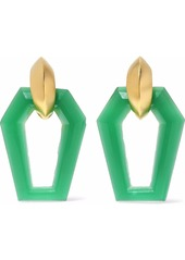 Kenneth Jay Lane Woman Brushed Gold-tone Resin Clip Earrings Jade
