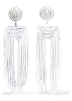Kenneth Jay Lane Woman Fringed Beaded Clip Earrings White