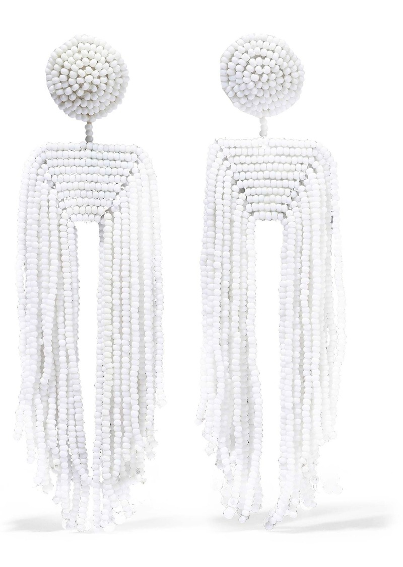 Kenneth Jay Lane Woman Fringed Beaded Clip Earrings White
