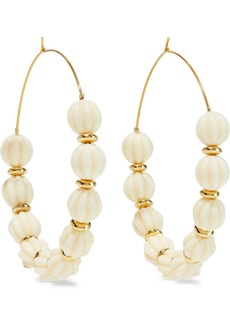Kenneth Jay Lane Woman Gold-plated Beaded Hoop Earrings Off-white