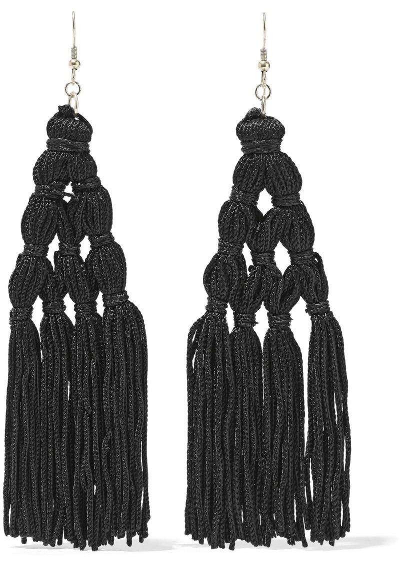 Kenneth Jay Lane Woman Gold-plated Cord Tassel Earrings Black