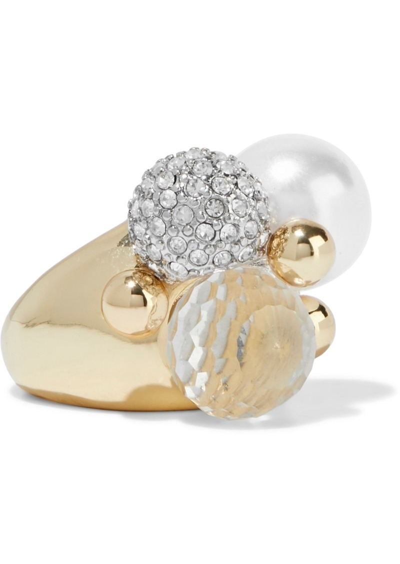 Kenneth Jay Lane Woman Gold-plated Crystal And Faux Pearl Ring Gold