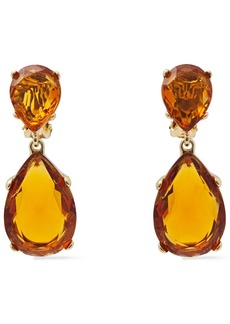 Kenneth Jay Lane Woman Gold-plated Crystal Clip Earrings Copper