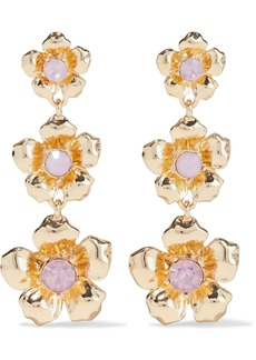 Kenneth Jay Lane Woman Gold-plated Crystal Earrings Baby Pink