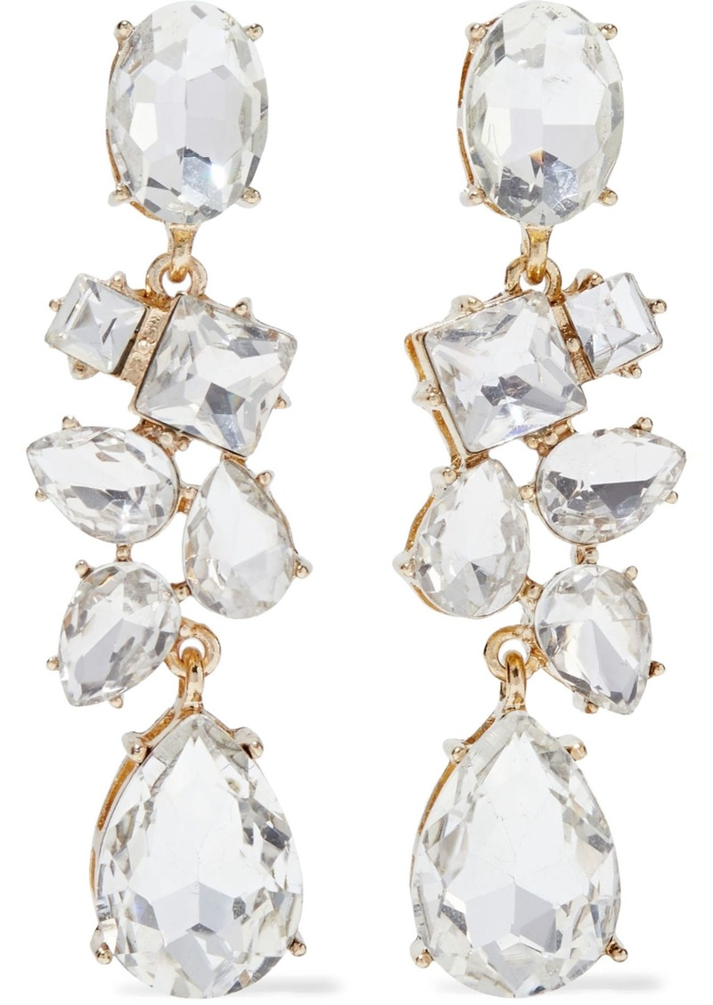 Kenneth Jay Lane Woman Gold-plated Crystal Earrings Silver