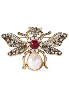 Kenneth Jay Lane Woman Gold-plated Faux Pearl And Bead Brooch Gold