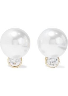 Kenneth Jay Lane Woman Gold-plated Faux Pearl And Crystal Clip Earrings Silver