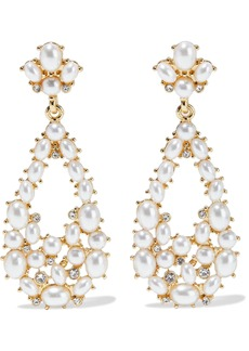 Kenneth Jay Lane Woman Gold-plated Faux Pearl And Crystal Earrings Gold