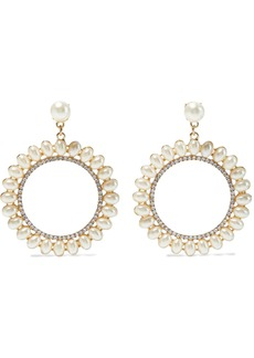 Kenneth Jay Lane Woman Gold-plated Faux Pearl And Crystal Hoop Earrings Gold