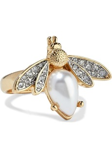 Kenneth Jay Lane Woman Gold-plated Faux Pearl And Crystal Ring Gold