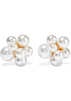 Kenneth Jay Lane Woman Gold-plated Faux Pearl Clip Earrings Silver
