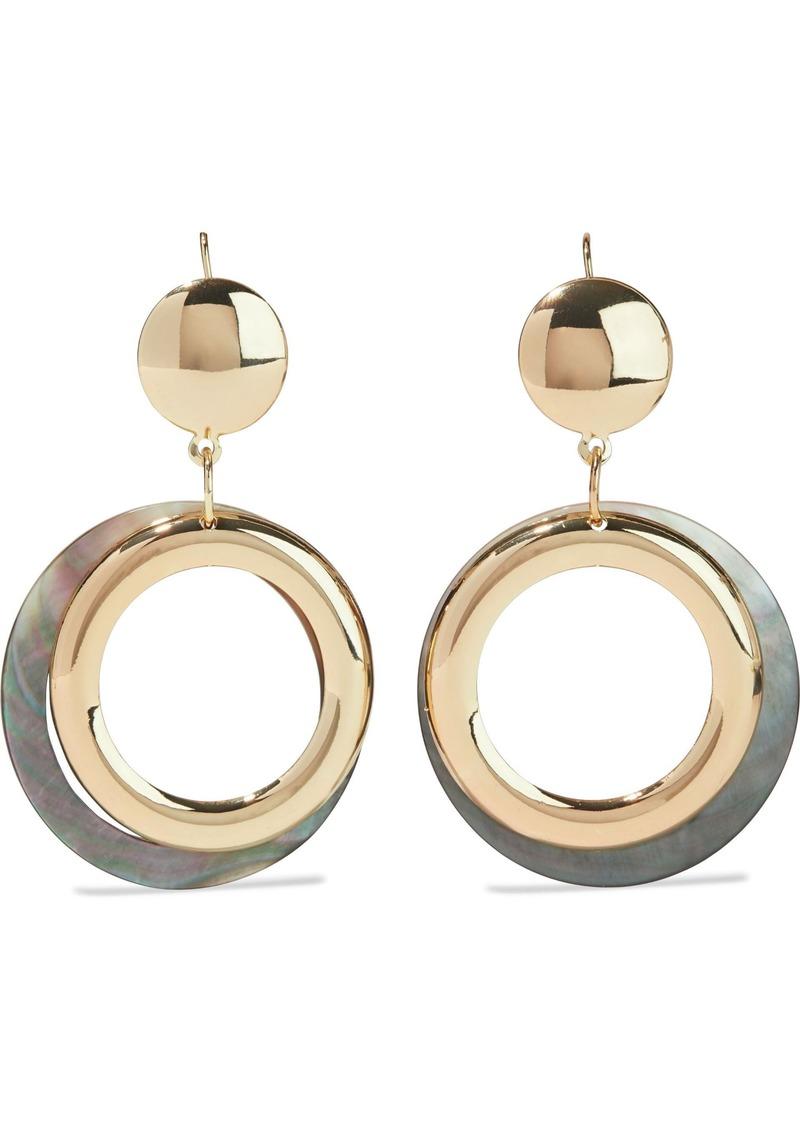 Kenneth Jay Lane Woman Gold-plated Faux Shell Hoop Earrings Gold