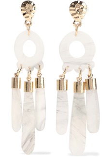 Kenneth Jay Lane Woman Gold-plated Marbled Resin Earrings Ivory