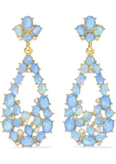 Kenneth Jay Lane Woman Gold-plated Stone And Crystal Earrings Light Blue