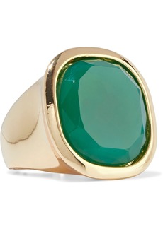 Kenneth Jay Lane Woman Gold-plated Stone Ring Forest Green