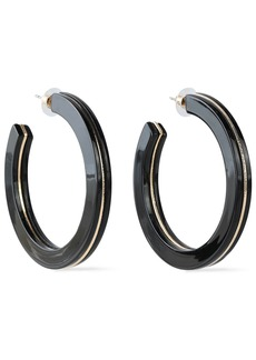 Kenneth Jay Lane Woman Gold-tone Acetate Hoop Earrings Black