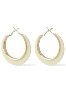 Kenneth Jay Lane Woman Gold-tone Acetate Hoop Earrings Ivory