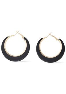 Kenneth Jay Lane Woman Gold-tone Acetate Hoop Earrings Black