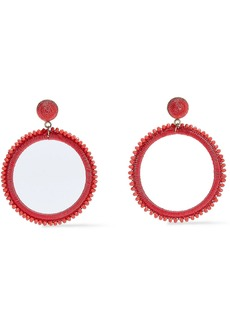 Kenneth Jay Lane Woman Gold-tone Bead And Cord Hoop Earrings Coral