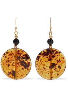 Kenneth Jay Lane Woman Gold-tone Bead And Resin Earrings Saffron