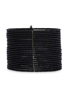 Kenneth Jay Lane Woman Gold-tone Beaded Cuff Black