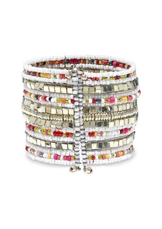 Kenneth Jay Lane Woman Gold-tone Beaded Cuff White